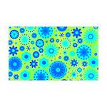 Turquoise Blue Hippie Flower Pattern 35x21 Wall De