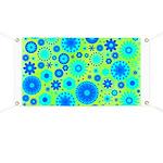 Turquoise Blue Hippie Flower Pattern Banner