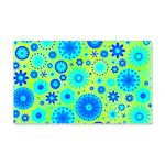 Turquoise Blue Hippie Flower Pattern 20x12 Wall De