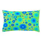 Turquoise Blue Hippie Flower Pattern Pillow Case