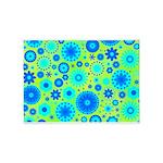 Turquoise Blue Hippie Flower Pattern 5'x7'Area Rug