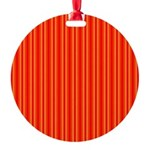 Red and Orange Stripes Pattern Round Ornament