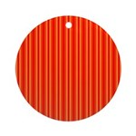 Red and Orange Stripes Pattern Ornament (Round)