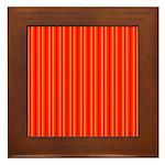 Red and Orange Stripes Pattern Framed Tile