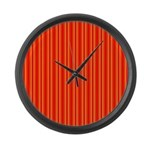 Red and Orange Stripes Pattern Large Wall Clock
