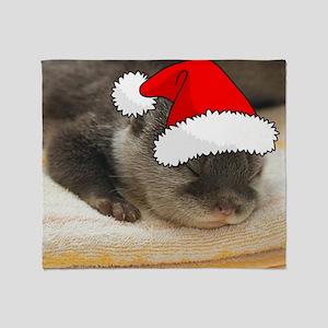 Christmas Otter Throw Blanket