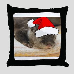 Christmas Otter Throw Pillow