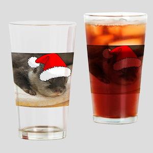 Christmas Otter Drinking Glass