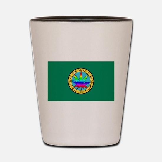WA State Flag with Pot Leaf Shot Glass
