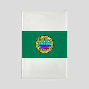 WA State Flag with Pot Leaf Rectangle Magnet