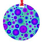 Purple and Blue Hippie Flower Pattern Round Orname
