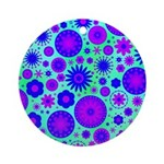 Purple and Blue Hippie Flower Pattern Ornament (Ro