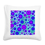 Purple and Blue Hippie Flower Pattern Square Canva