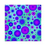 Purple and Blue Hippie Flower Pattern Queen Duvet