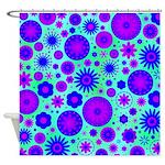 Purple and Blue Hippie Flower Pattern Shower Curta