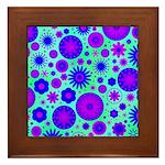 Purple and Blue Hippie Flower Pattern Framed Tile