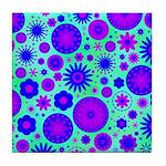 Purple and Blue Hippie Flower Pattern Tile Coaster