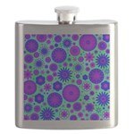 Purple and Blue Hippie Flower Pattern Flask