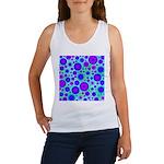 Purple and Blue Hippie Flower Pattern Women's Tank