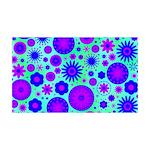 Purple and Blue Hippie Flower Pattern 35x21 Wall D