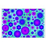 Purple and Blue Hippie Flower Pattern Large Poster