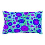 Purple and Blue Hippie Flower Pattern Pillow Case