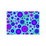 Purple and Blue Hippie Flower Pattern 5'x7'Area Ru