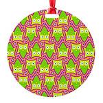 Neon Owl Pattern Round Ornament