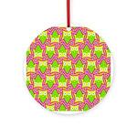 Neon Owl Pattern Ornament (Round)