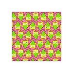 Neon Owl Pattern Square Sticker 3