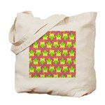 Neon Owl Pattern Tote Bag