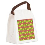 Neon Owl Pattern Canvas Lunch Bag