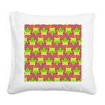 Neon Owl Pattern Square Canvas Pillow