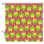Neon Owl Pattern Shower Curtain