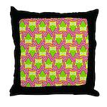 Neon Owl Pattern Throw Pillow