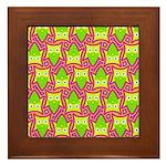 Neon Owl Pattern Framed Tile