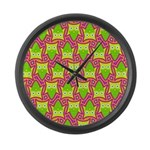Neon Owl Pattern Large Wall Clock