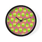 Neon Owl Pattern Wall Clock