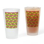 Neon Owl Pattern Drinking Glass