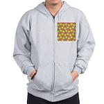 Neon Owl Pattern Zip Hoodie