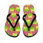 Neon Owl Pattern Flip Flops