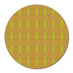 Retro Yellow Pattern Round Car Magnet