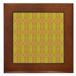 Retro Yellow Pattern Framed Tile