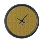 Retro Yellow Pattern Large Wall Clock