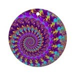 Psychedelic Purple Fractal Art Ornament (Round)
