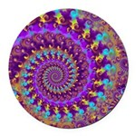 Psychedelic Purple Fractal Art Round Car Magnet