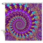 Psychedelic Purple Fractal Art Shower Curtain