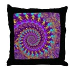Psychedelic Purple Fractal Art Throw Pillow