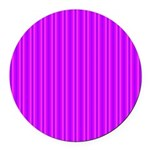 Purple and Pink Stripes Pattern Round Car Magnet