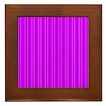 Purple and Pink Stripes Pattern Framed Tile